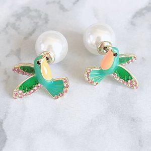 Kate Spade Enamel Hummingbird Diamond Earrings